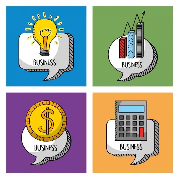Nuvoletta di raccolta business con calcolatrice soldi idea Vettore Premium