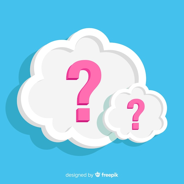 Nuvoletta piatta con punti interrogativi Vettore gratuito