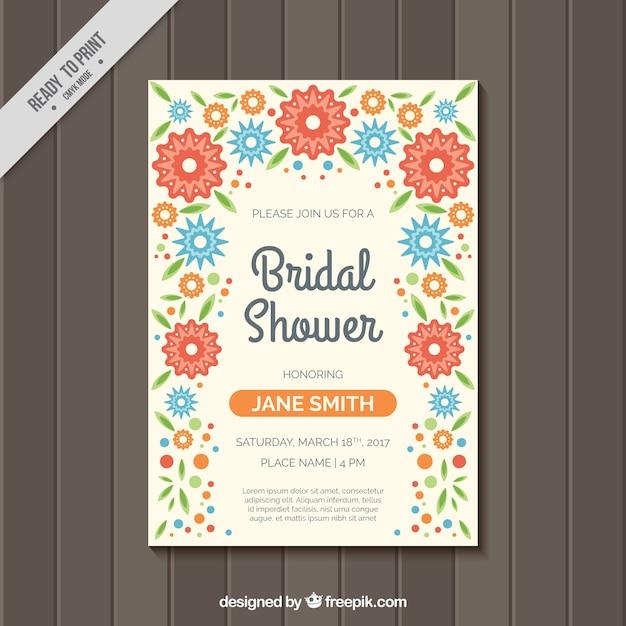 Nuziale doccia invito con fiori colorati a forma piatta Vettore gratuito