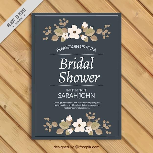 Nuziale invito doccia con ornamenti floreali Vettore gratuito