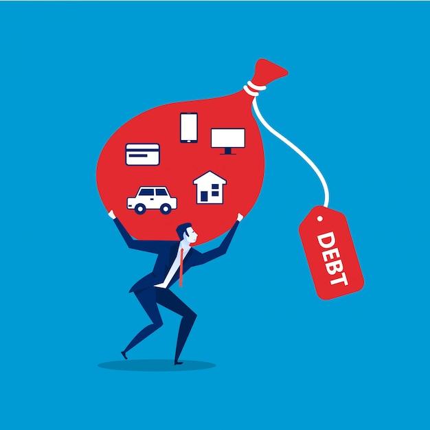Obbligo di debito concetto rosso. illustrazione piana di obblighi di debito. Vettore Premium