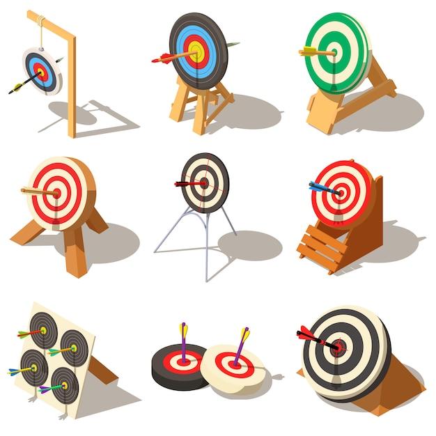 Obiettivo con le icone della freccia impostate. illustrazione isometrica di 9 destinazione con icone vettoriali logo freccia per il web Vettore Premium