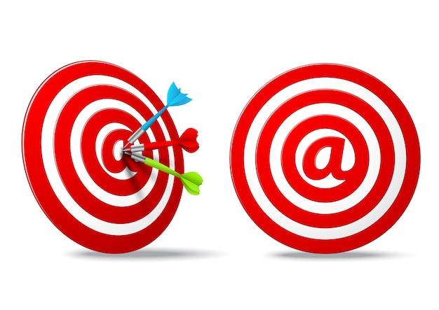 Obiettivo dei media sociali rosso dardi obiettivo Vettore Premium