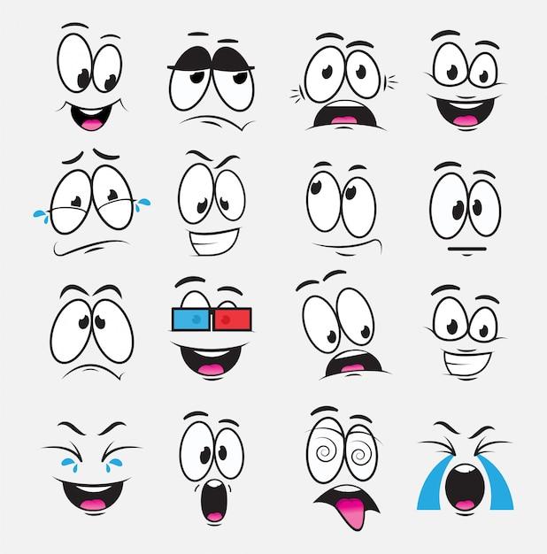 Occhi di cartone animato con espressione ed emozioni, un set di icone, gioia, tristezza, risate, fantasticheria, paura, guardare un film, piangere. illustrazione con gli occhi divertenti del fumetto Vettore Premium