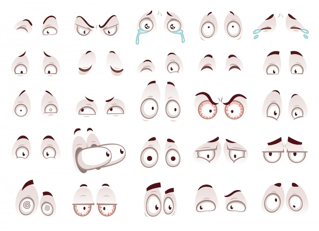 Occhi di cartone animato Vettore Premium