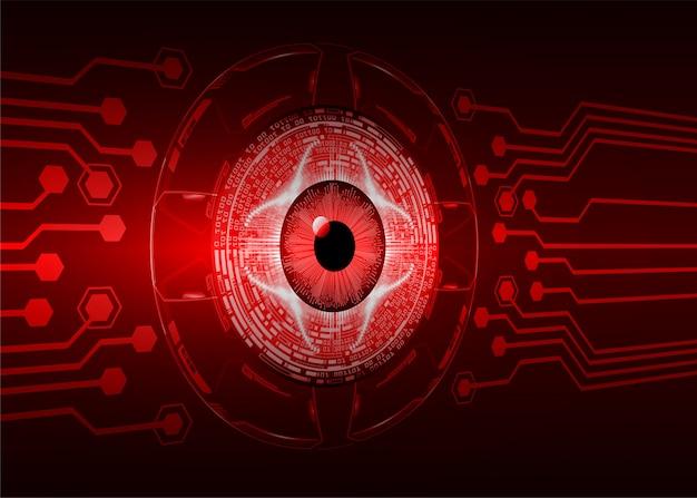 Occhi rossi circuito cyber futuro tecnologia concetto di fondo Vettore Premium