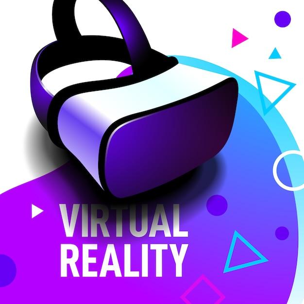 Occhiali auricolare realtà virtuale realistici Vettore Premium
