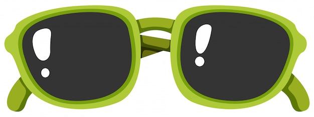 Occhiali da sole greem su sfondo bianco Vettore Premium