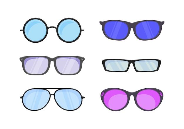 Occhiali da sole in stile piatto. accessori per hipsters moda occhiali vista ottica vista. Vettore Premium