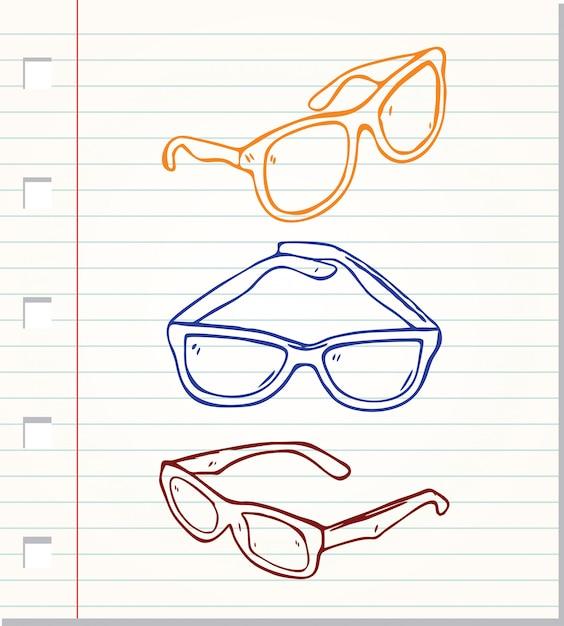 Occhiali da sole stile doodle isolati Vettore Premium