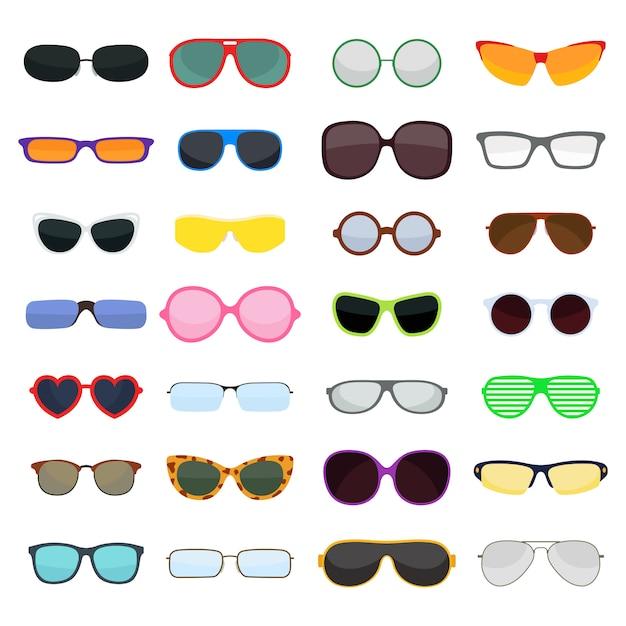 Occhiali di moda vettoriale isolati Vettore Premium