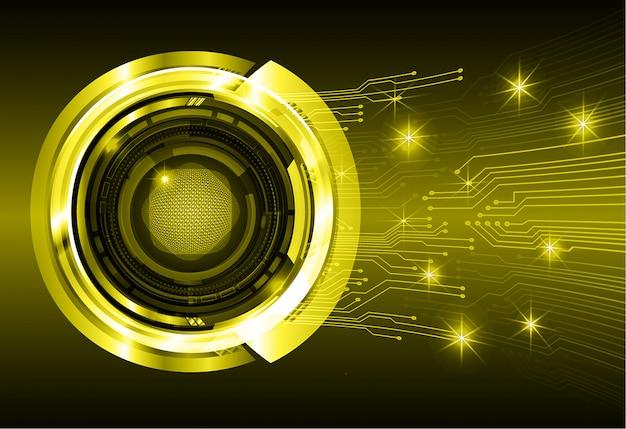 Occhio giallo circuito cyber futuro tecnologia concetto di fondo Vettore Premium