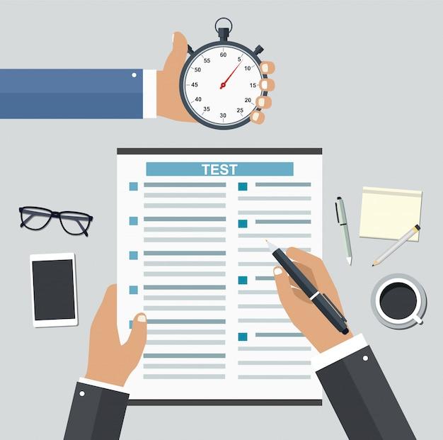 Occupazione su base competitiva. riempiendo riprendi i test di scrittura Vettore Premium