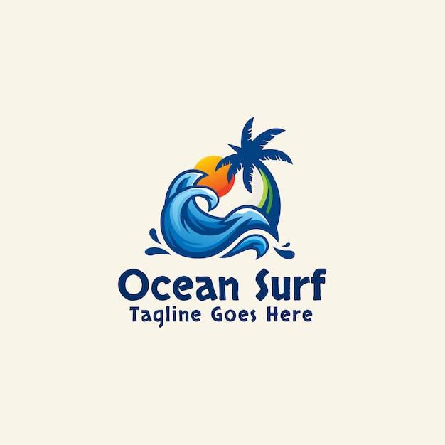 Ocean surf logo template estate astratta Vettore Premium