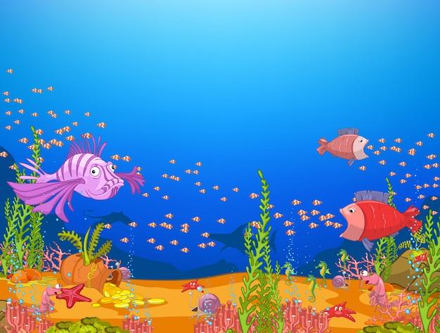 Ocean underwater world Vettore Premium
