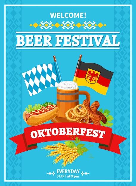 Octoberfest festival welcome flat poster Vettore gratuito