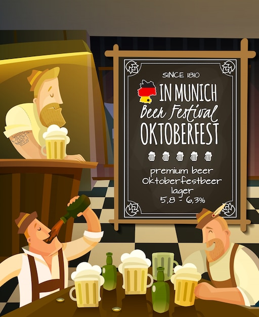 Octoberfest in pub illustration Vettore gratuito