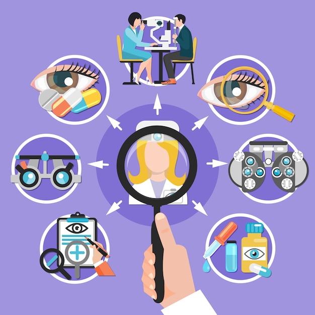 Oculista icone cerchio composizione Vettore gratuito