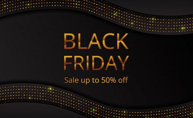 Offerta del black friday vendita modello di poster banner con glitter punto dorato Vettore Premium