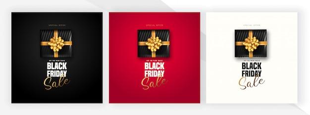 Offerta di sconto del 50% per le lettere di vendita del venerdì nero, confezione regalo nera su 3 colori diversi. può essere usato come poster, banner o modello. Vettore Premium