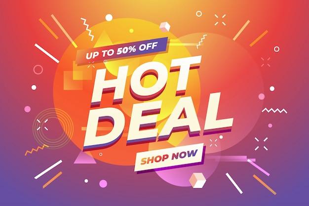 Offerta speciale banner hot deal. Vettore Premium
