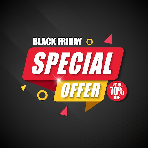 Offerta speciale di black friday banner design template Vettore Premium