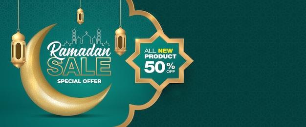Offerta speciale ramadan vendita ornamento islamico mezzaluna modello di bandiera luna e lanterne. Vettore Premium