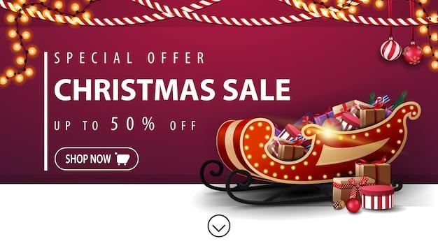Offerta speciale, saldi natalizi, banner sconto viola con slitta di babbo natale Vettore Premium