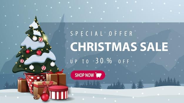 Offerta speciale, saldi natalizi, fino al 30% di sconto banner con pulsante rosa Vettore Premium