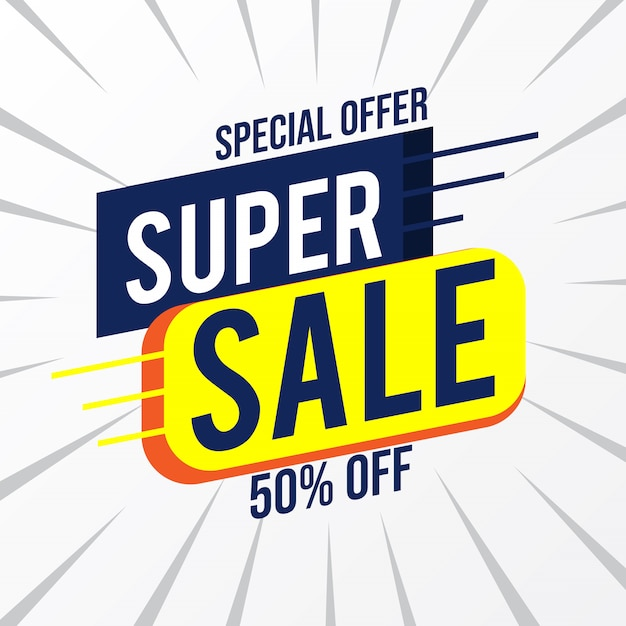 Offerta speciale sconto super vendita fino al 50% sul modello di marketing promozionale Vettore Premium