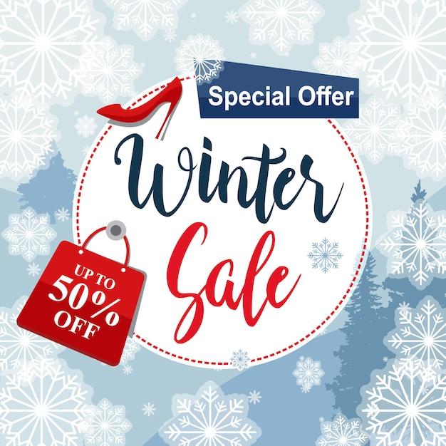 Offerta speciale vendita inverno sconto sconto fiocco di neve Vettore Premium