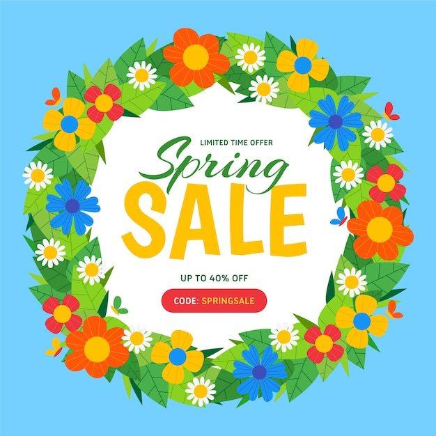 Offerte di saldi primaverili con ghirlanda di fiori Vettore gratuito