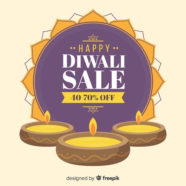 Offerte di vendita di diwali festive disegnate a mano Vettore gratuito