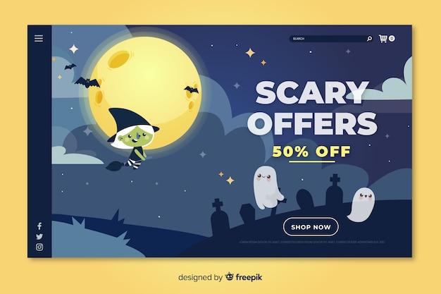 Offerte festive spaventose sulla landing page di halloween piatta Vettore gratuito
