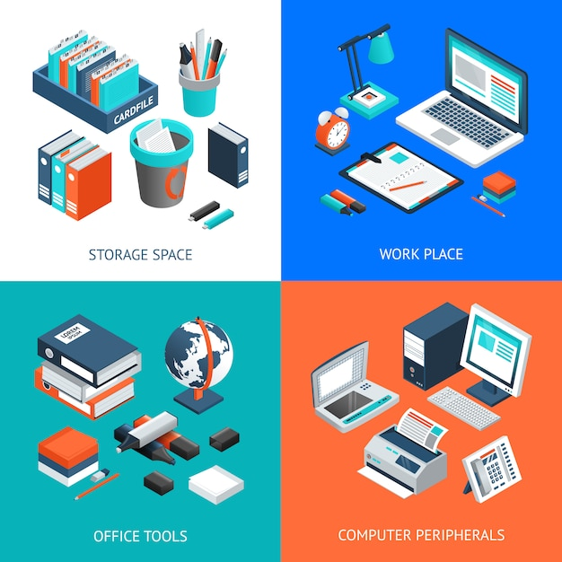 Office 2x2 concetto di design isometrico Vettore gratuito