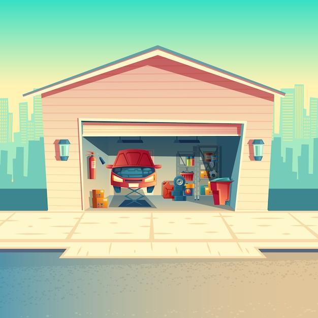 Officina meccanica del fumetto di vettore con l'automobile. riparare o riparare il veicolo nel garage. ripostiglio con pelliccia Vettore gratuito
