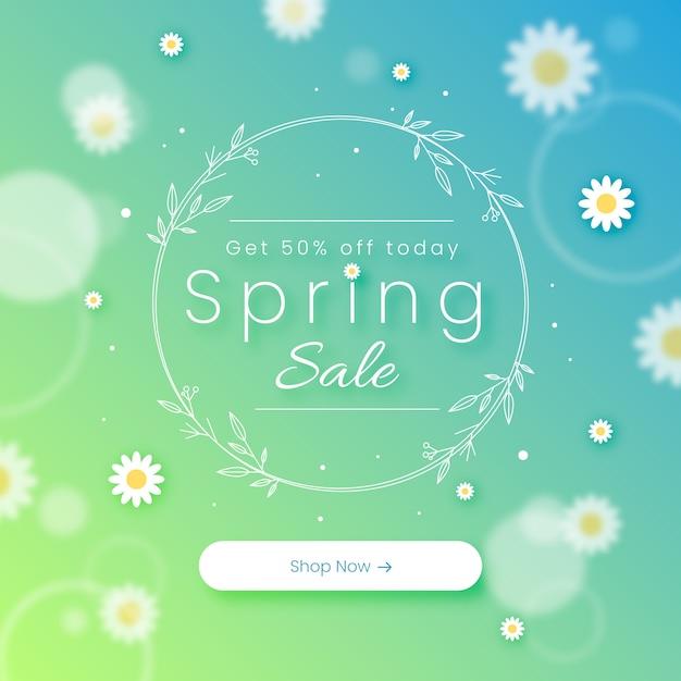 Offuscata primavera concetto di vendita Vettore gratuito