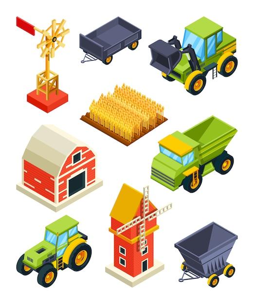 Oggetti architettonici di fattoria o villaggio Vettore Premium