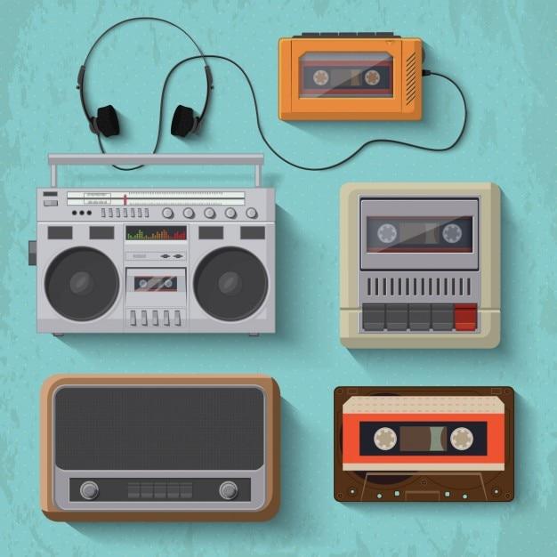Oggetti ascolto di musica d'epoca Vettore gratuito