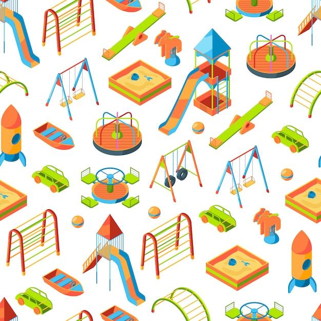 Oggetti del parco giochi isometrici o illustrazione del modello Vettore Premium