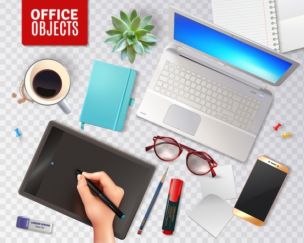 Oggetti dell'ufficio 3d isolati Vettore gratuito