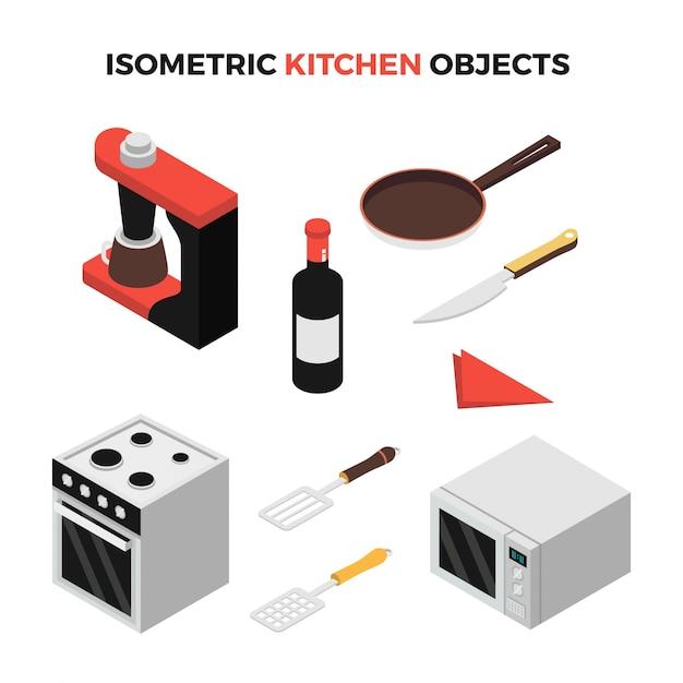 Oggetti di cucina isometrica | Scaricare vettori Premium