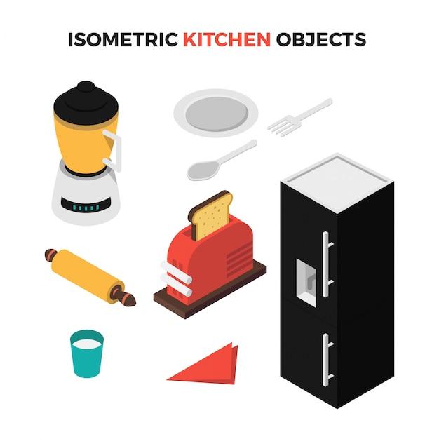 Oggetti di cucina isometrica   Scaricare vettori Premium