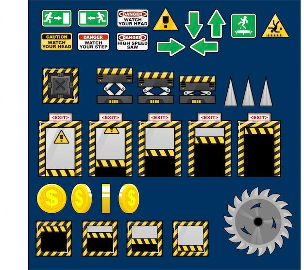 Oggetti di gioco di fabbrica Vettore Premium