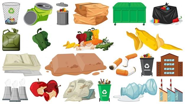 Oggetti di inquinamento, rifiuti, rifiuti e rifiuti isolati Vettore gratuito