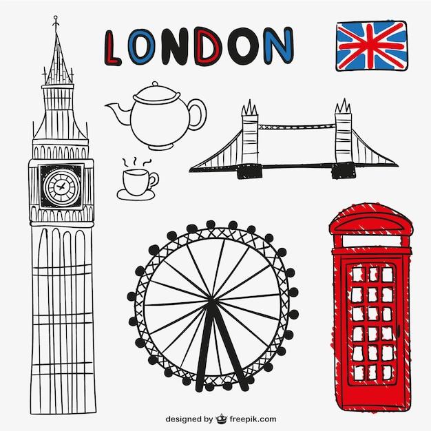 Oggetti di londra e punti di riferimento scaricare vettori gratis - Londra punti d interesse ...