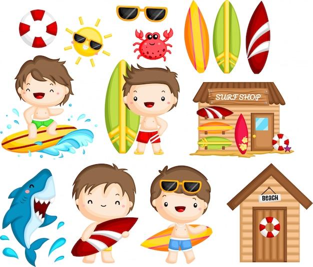 Oggetti e attività legate al surf Vettore Premium