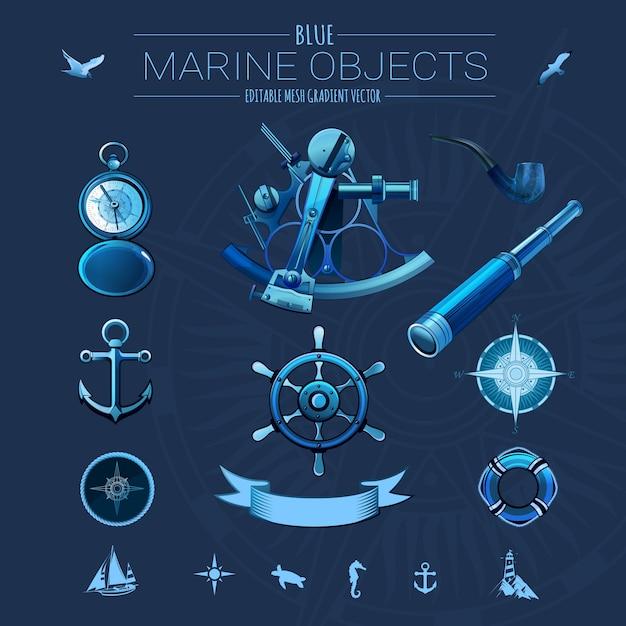 Oggetti marini blu Vettore Premium