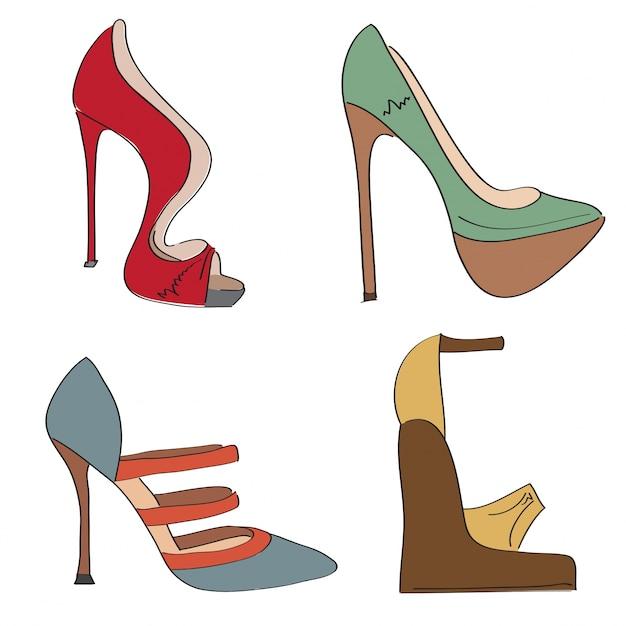 Oggetti scarpe impostate su un tacco alto isolato su sfondo bianco Vettore gratuito