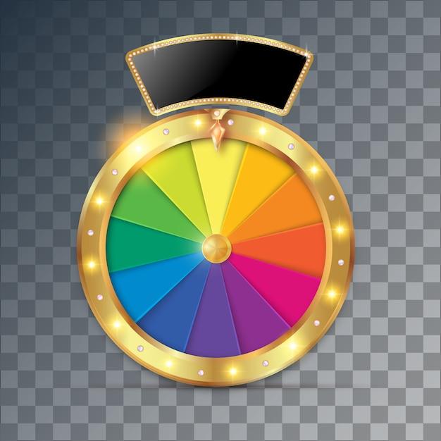 Oggetto della ruota della fortuna 3d. Vettore Premium